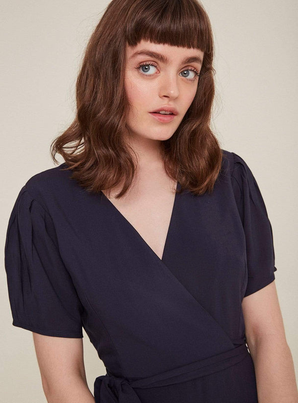 rita row Womens blouses Kimono midi dress - navy