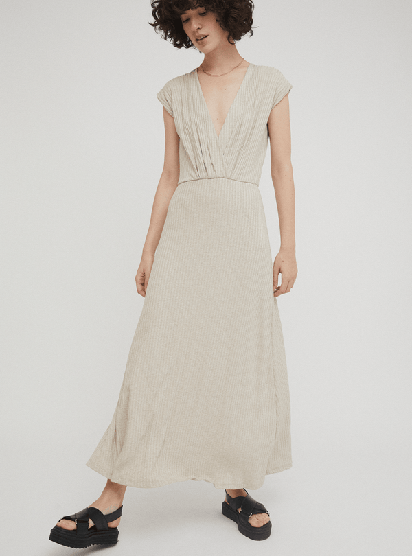 rita row Womens dresses Haru - ribbed maxidress - beige