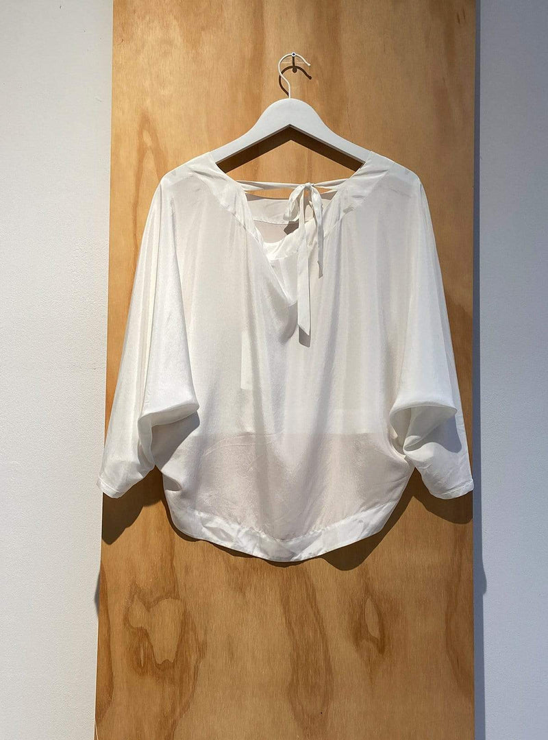 studio JUX Archive sale 36 Vegan silk - cropped blouse - white