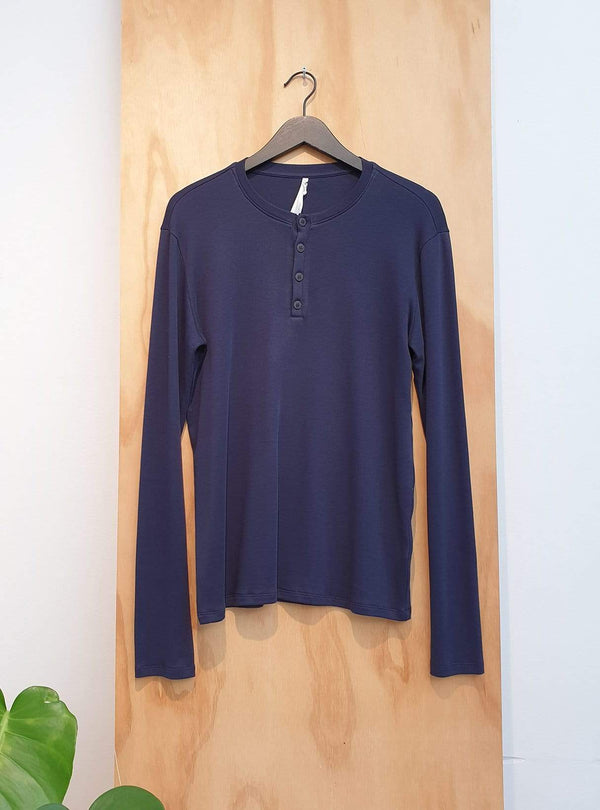 studio JUX Archive sale M Long sleeve button t-shirt - navy