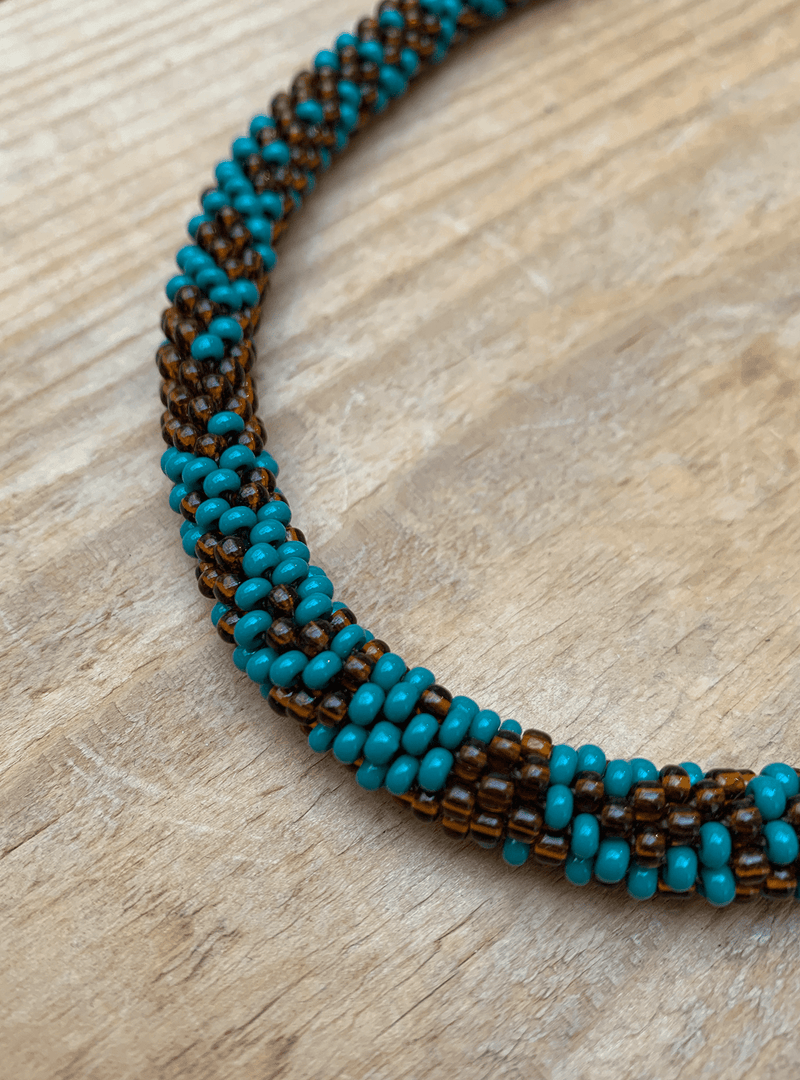 studio JUX Archive sale Necklace - glass beads - blue/brown