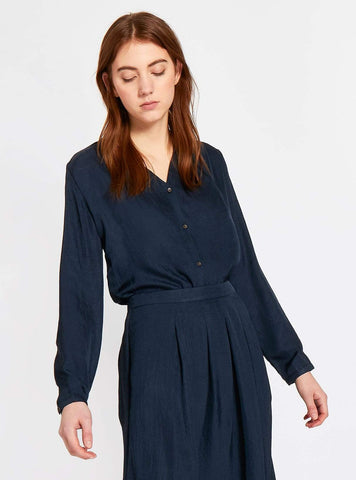 Vegan silk blouse - dark blue
