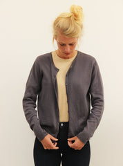 Fine knit cardigan - dark grey melange