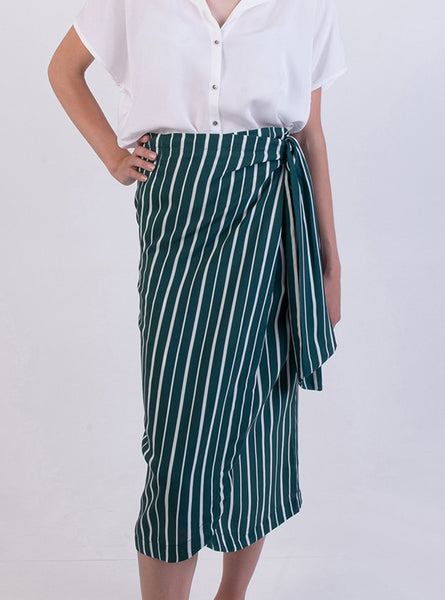 Wrap skirt - deep sea stripe