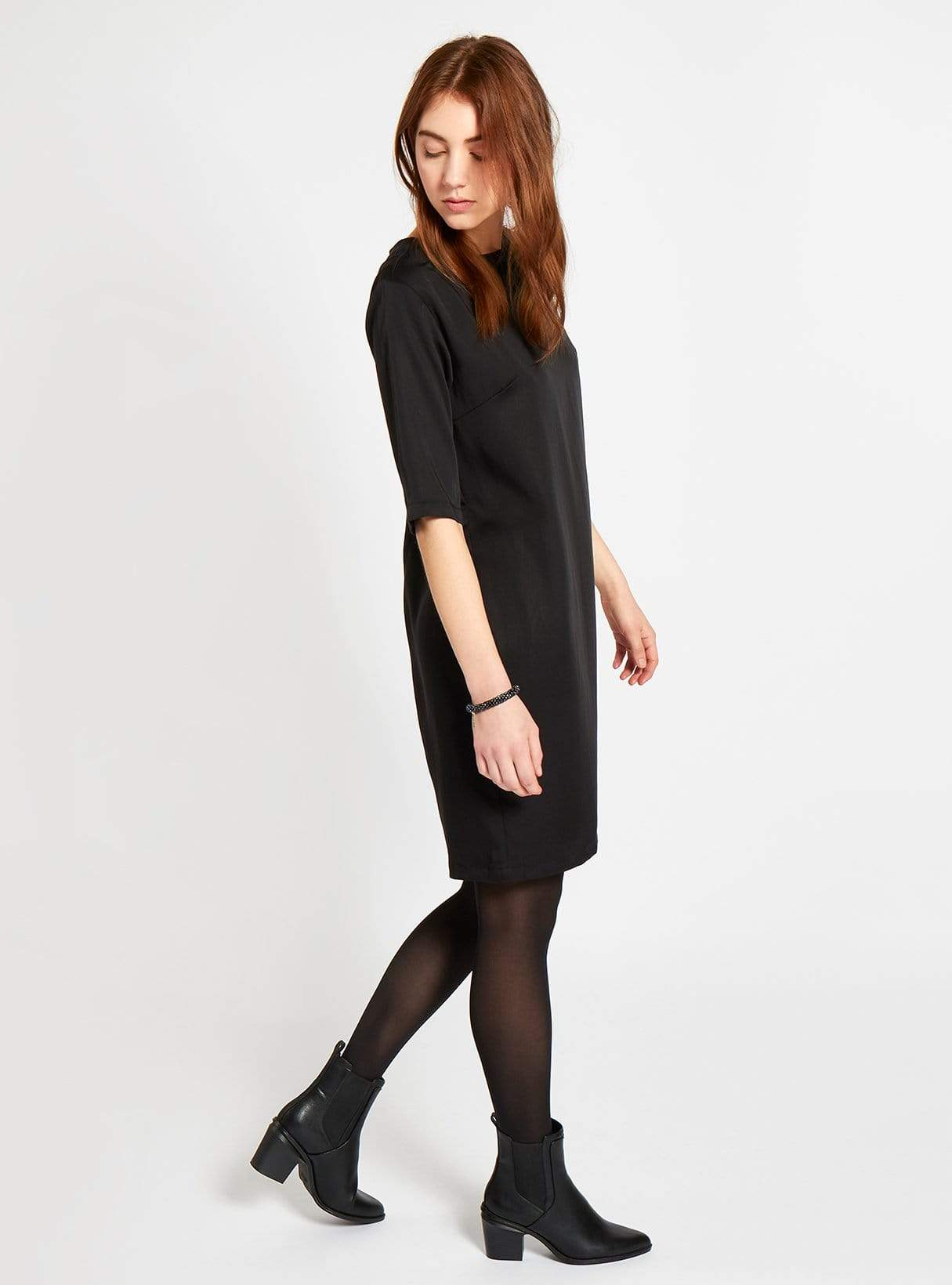 Tencel mini dress - black