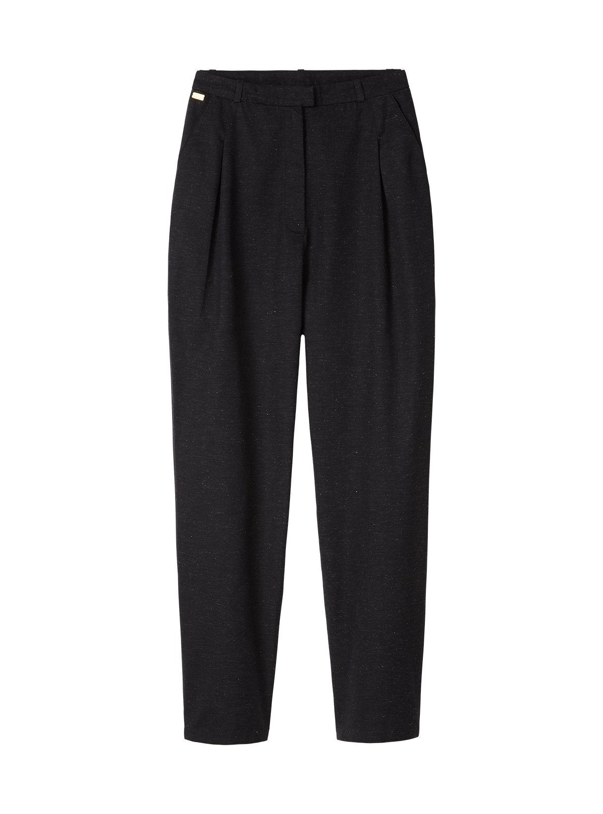 Hight waist twill trousers - dark blue