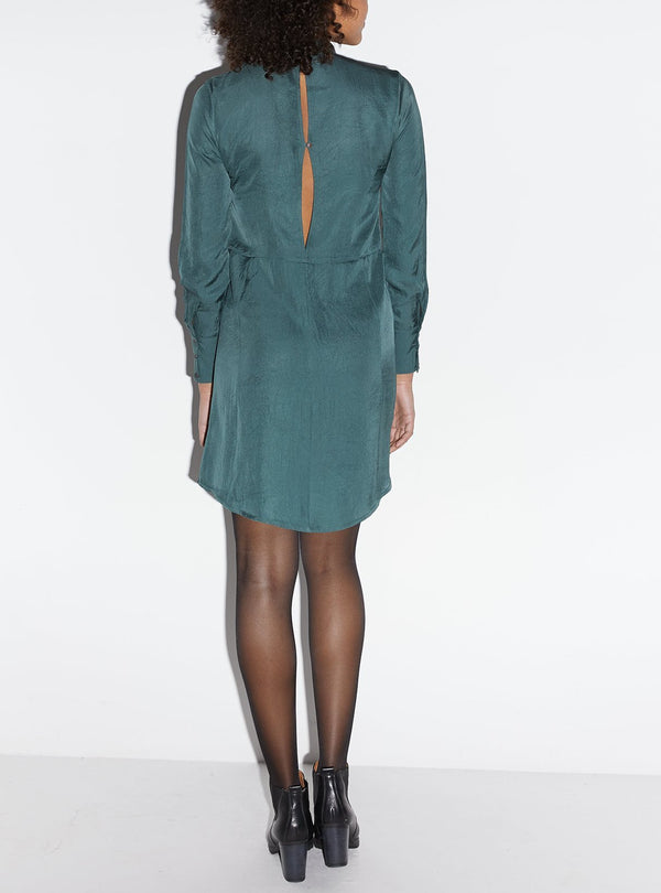 studio JUX F18 34 Vegan silk dress with open back - dark green