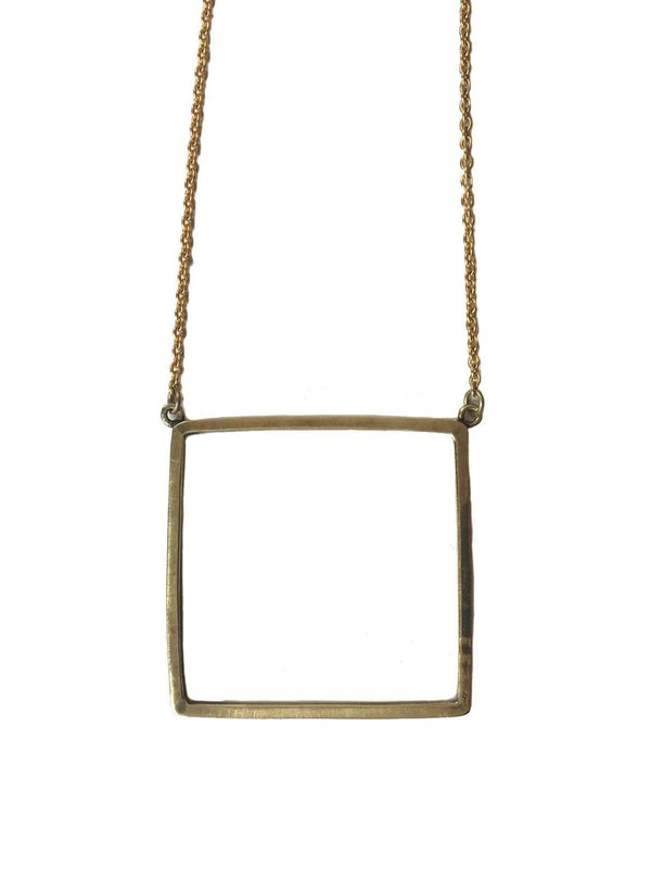 studio JUX F18 F Recycled brass square necklace - brass