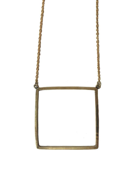 Recycled brass square necklace - brass