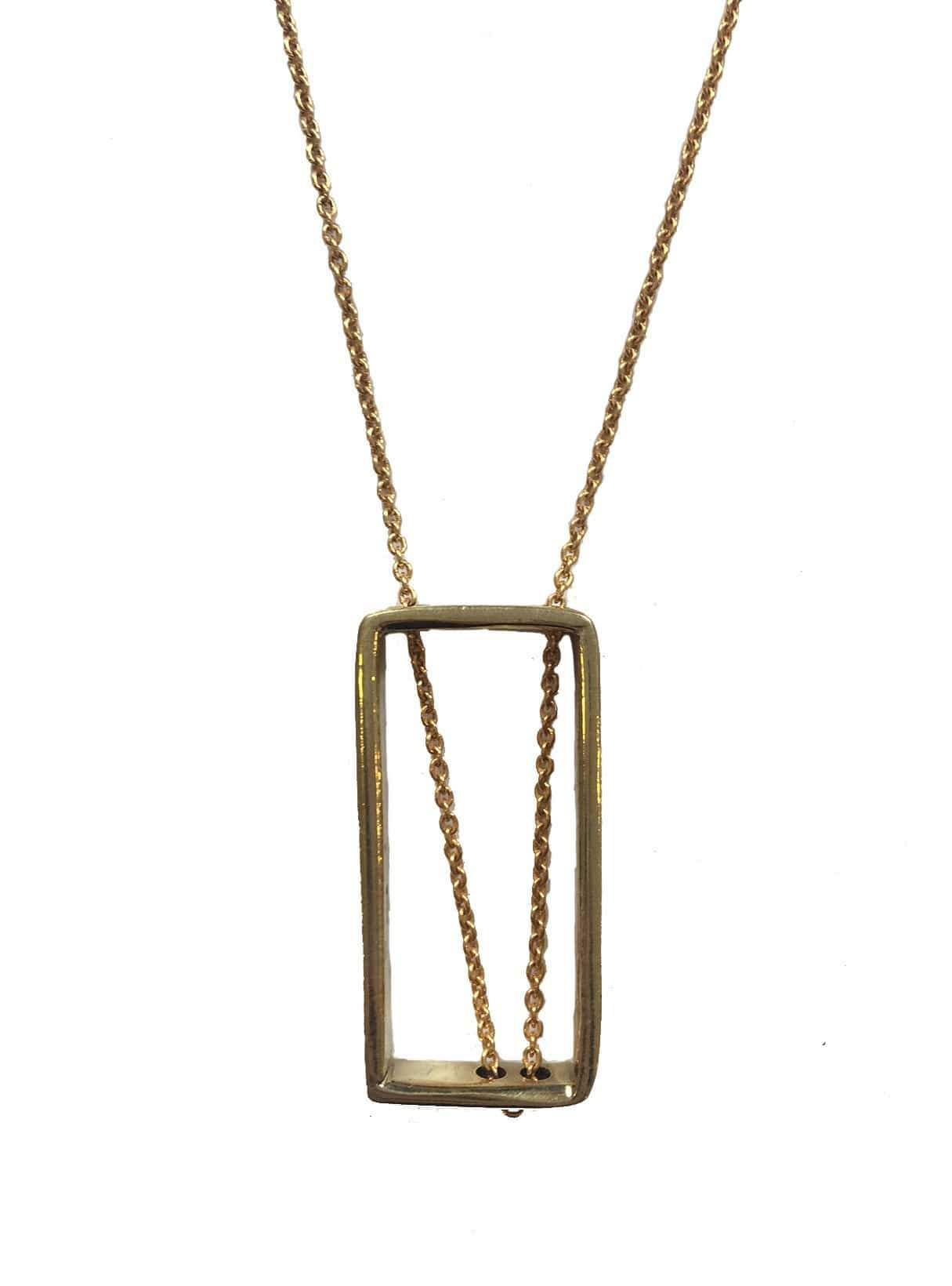 Recycled brass unequal rectangle necklace - brass