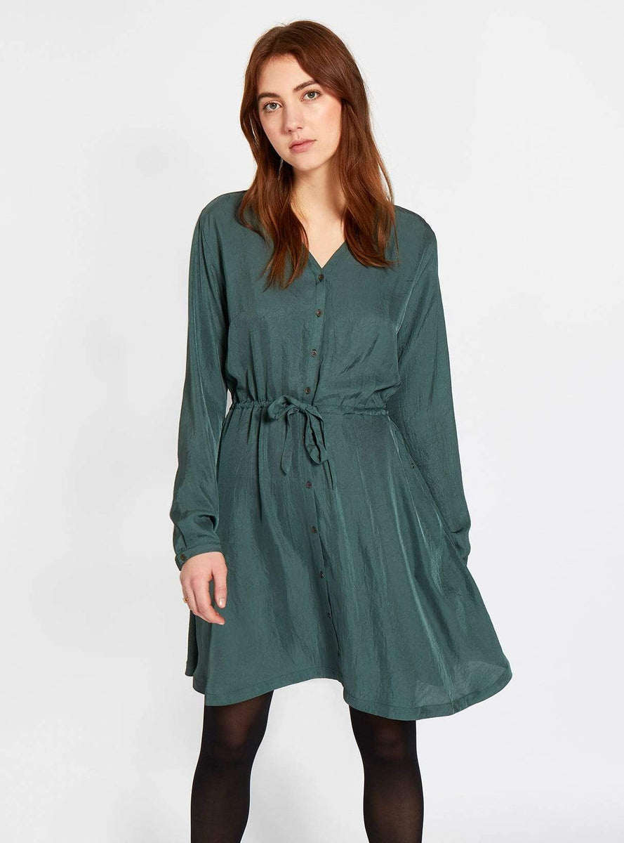76fee540f28b Vegan silk v-neck dress - dark green studio JUX