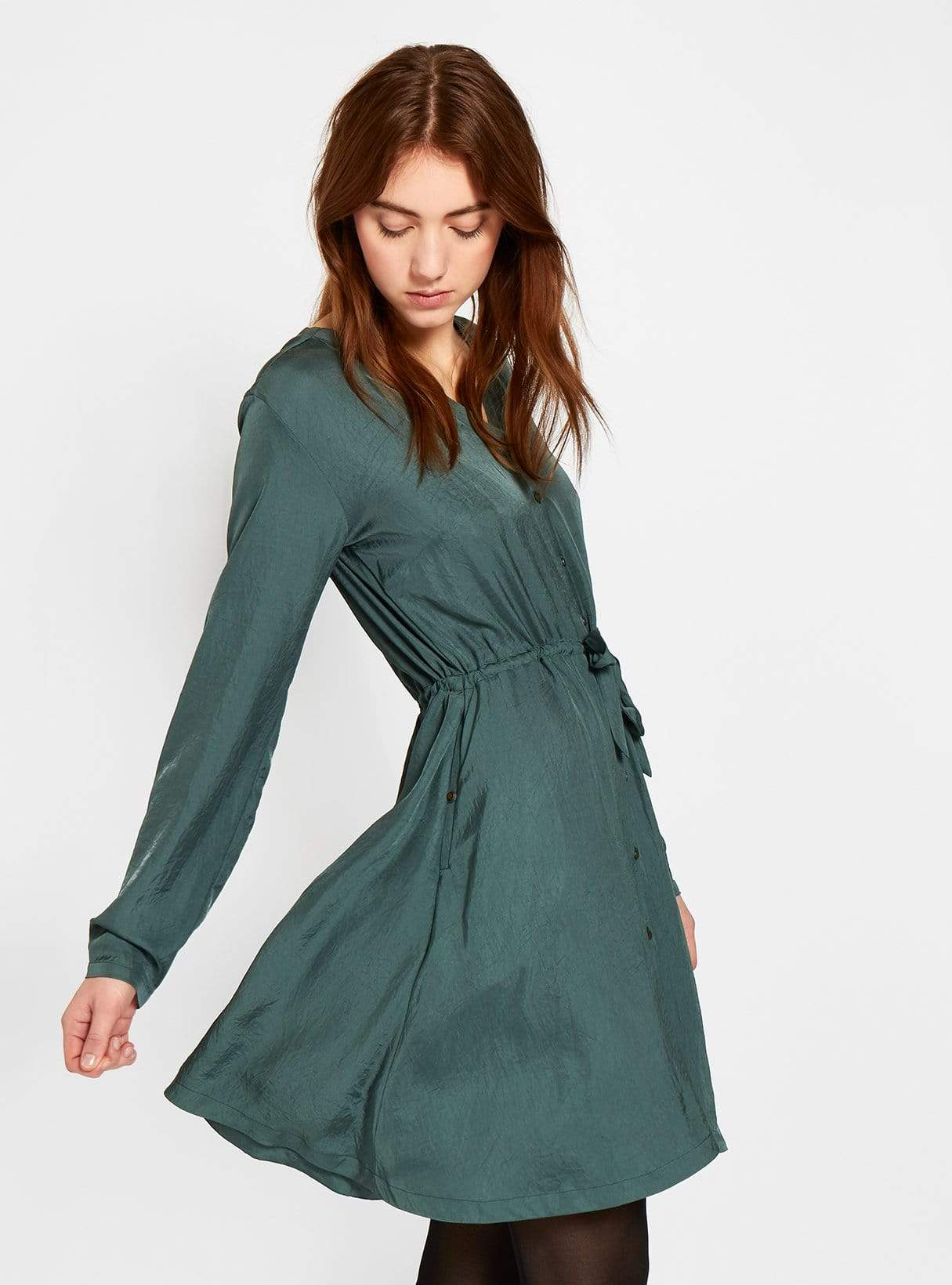Vegan silk v-neck dress - dark green