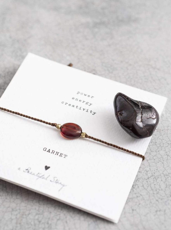 studio JUX Gemstone card garnet gold bracelet