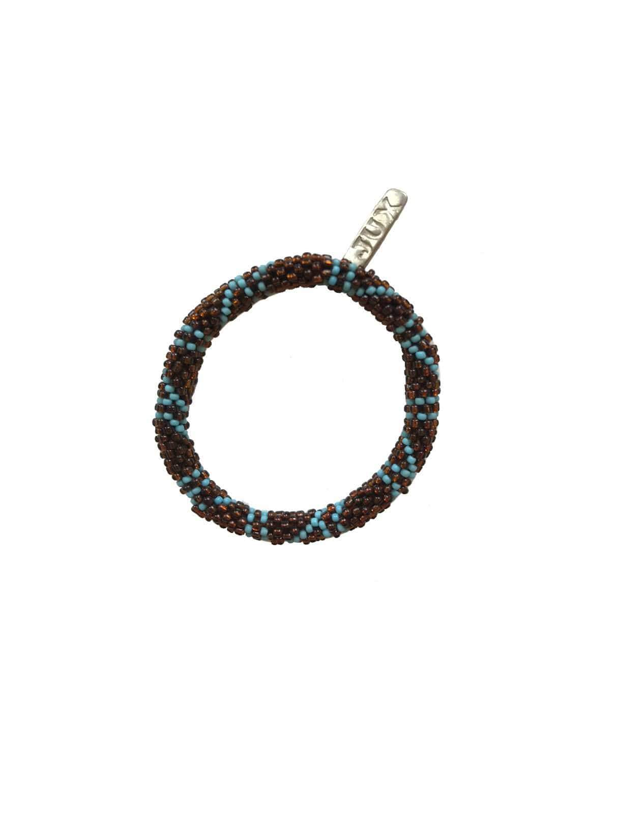 Beads bracelet - bronze blue pattern