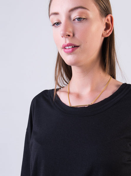 Horizontal bar necklace - brass