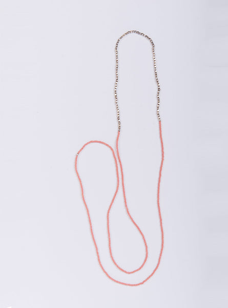 Necklace thin long - pink
