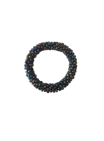 Thick beads bracelet - metallic blue