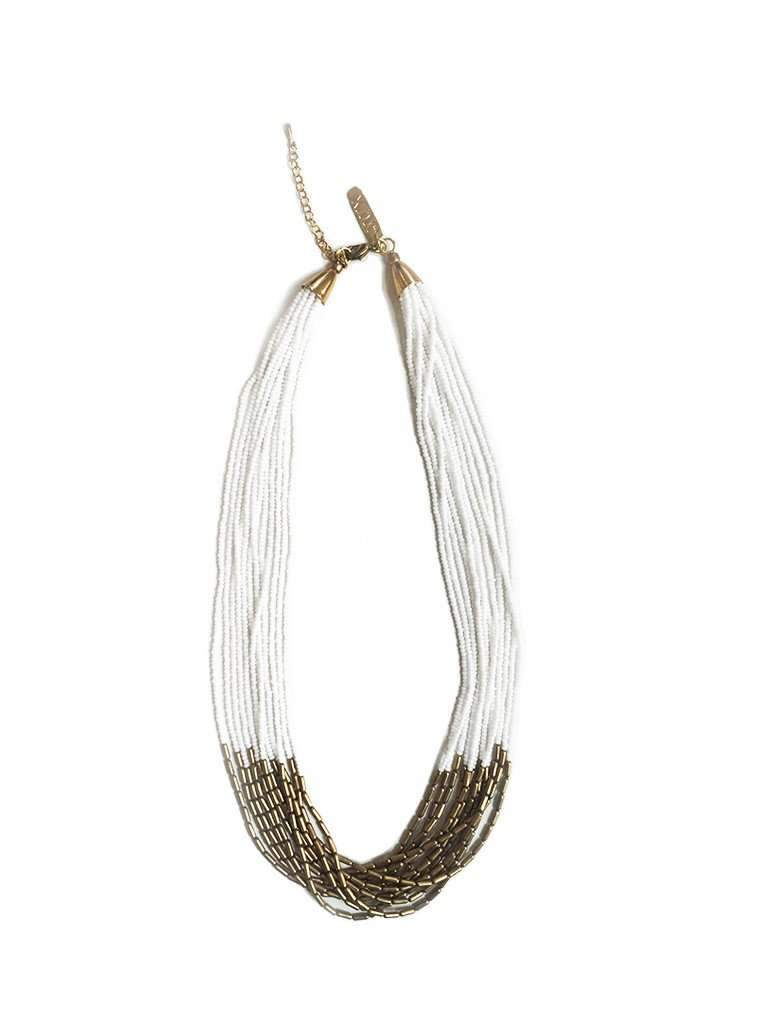 studio JUX jewellery Thin layered necklace - white/gold