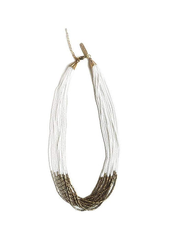 Thin layered necklace - white/gold