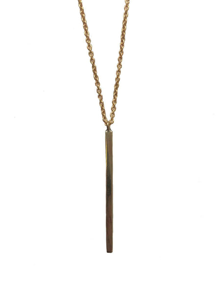 Verticale bar necklace - recycled brass