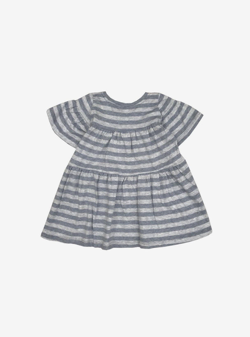 studio JUX Kids tops Baby ruffle dress - grey stripe melange