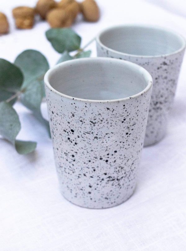 studio JUX Kitchen Matt ceramic - tea cup - white black dots
