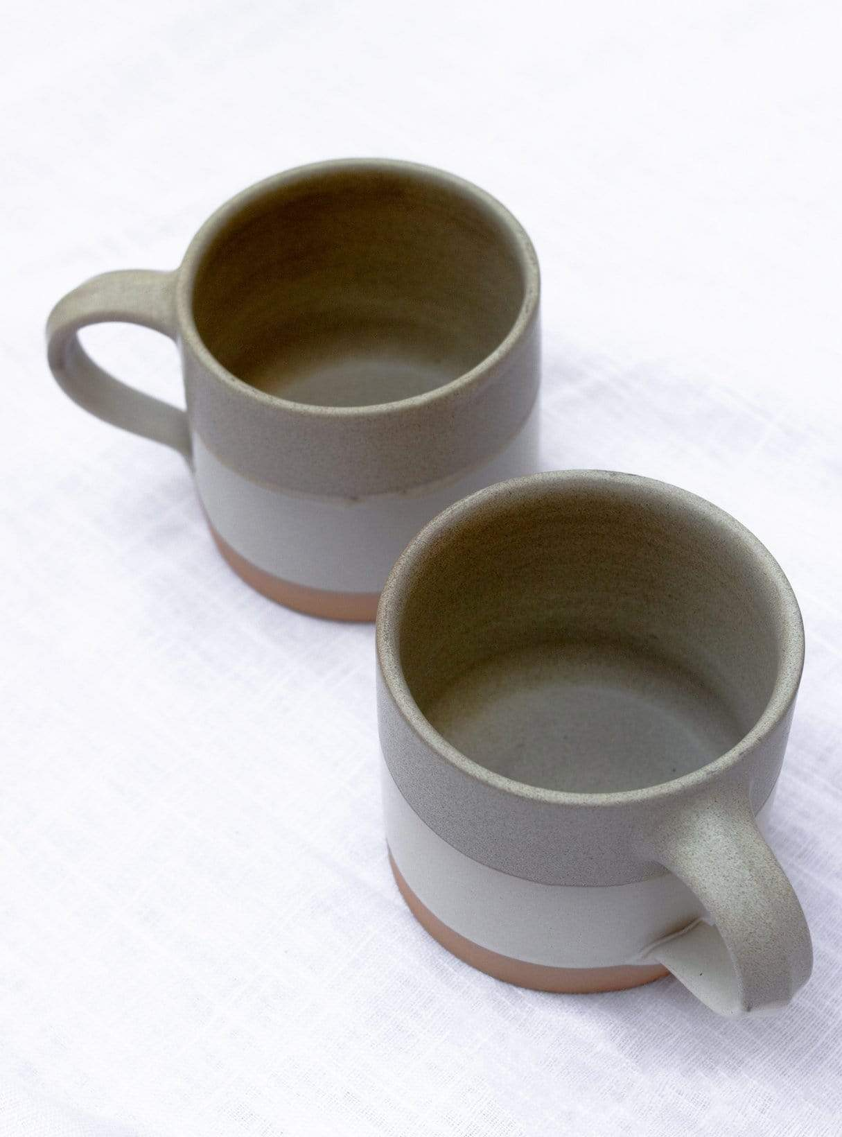 Two tone - cup with handle - beige sand stripe