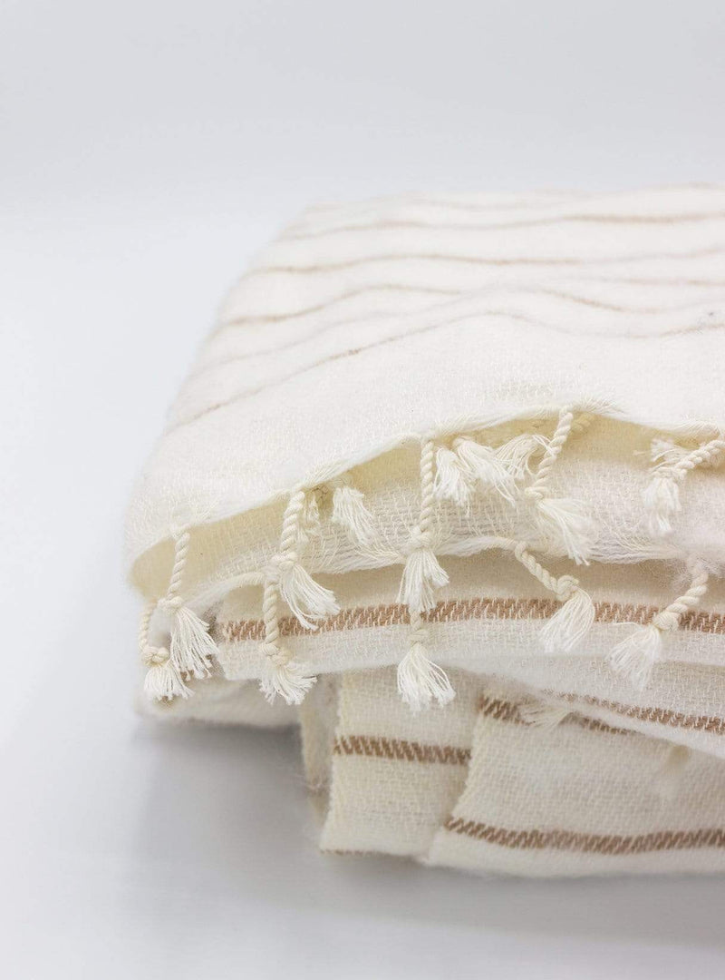 studio JUX Living room Handwoven scarf - striped white/sand