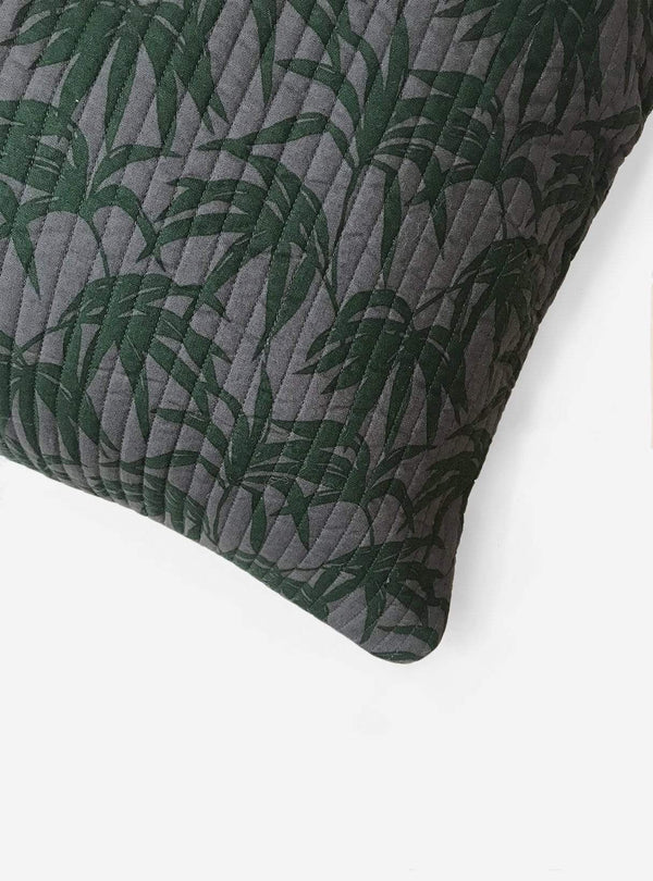 studio JUX Living room Organic cotton pillow cover - leaf print dark green