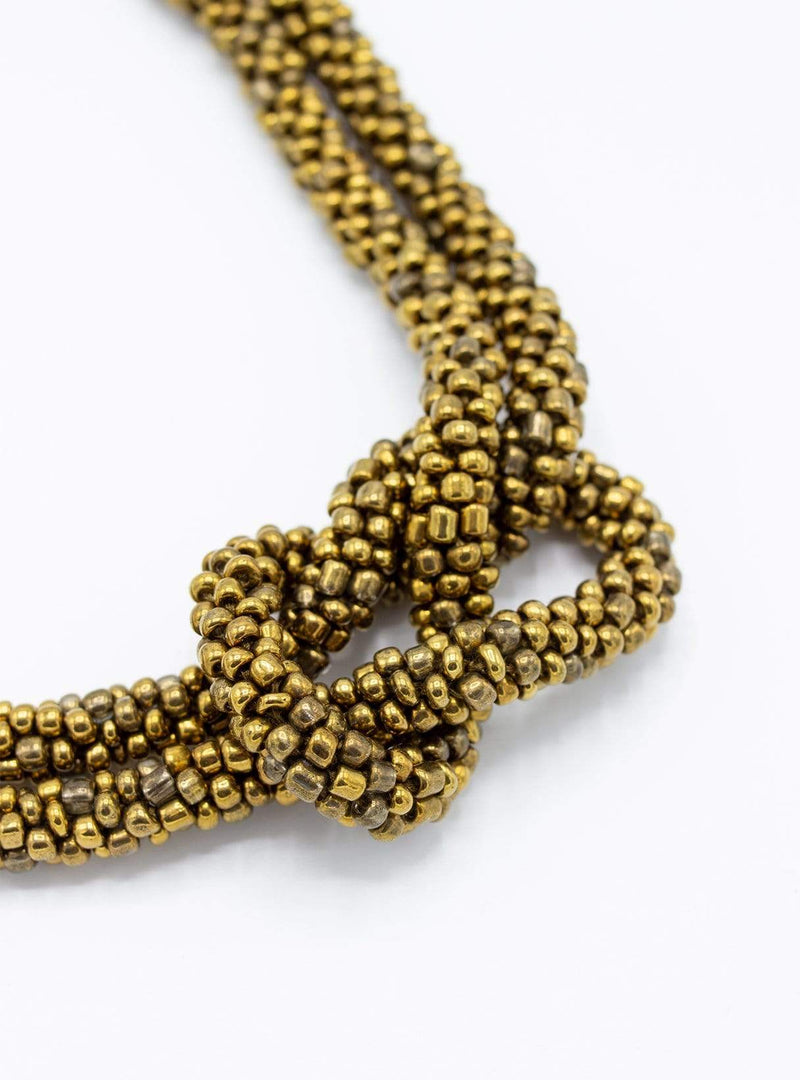 studio JUX Necklaces Thick knot - beaded necklace - brass