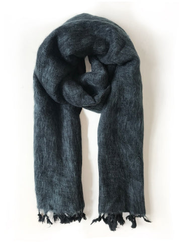 Handwoven scarf - black grey melange
