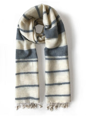Handwoven scarf - white blue striped