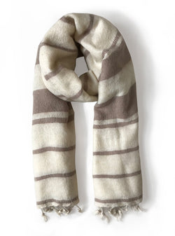 studio JUX scarf Handwoven scarf - white sand striped