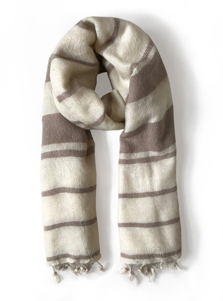 Handwoven scarf - white sand striped