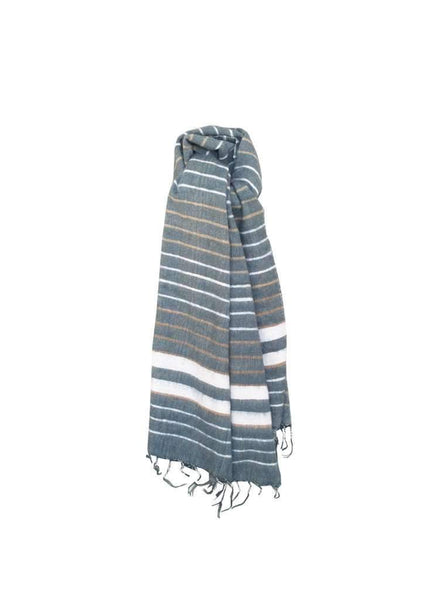 Handwoven wool scarf - striped blue