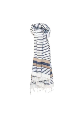 Handwoven wool scarf - white stripes