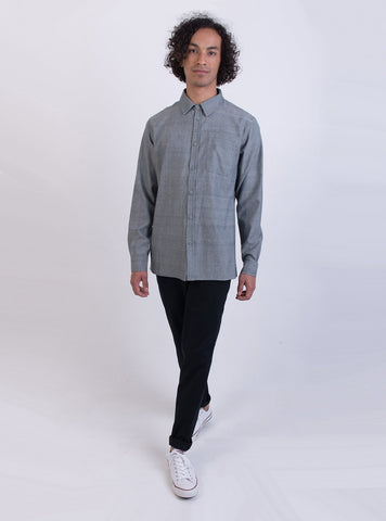 studio JUX shirts S Handwoven cotton shirt - blue melange