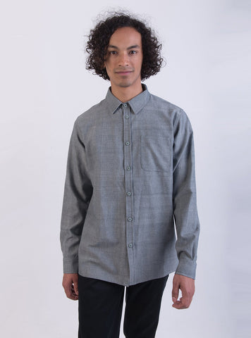 Handwoven cotton shirt - blue melange