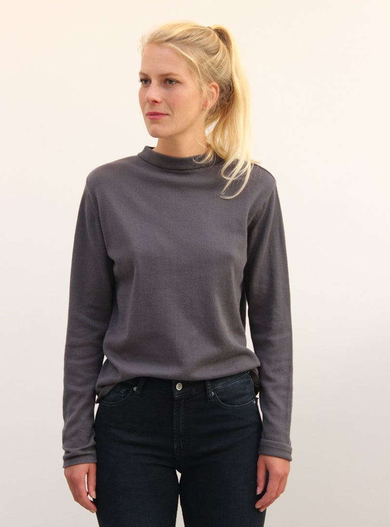 studio JUX sweater 34 Fine knit turtle neck sweater - dark grey melange