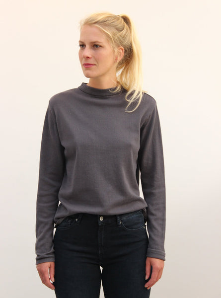 Fine knit turtle neck sweater - dark grey melange