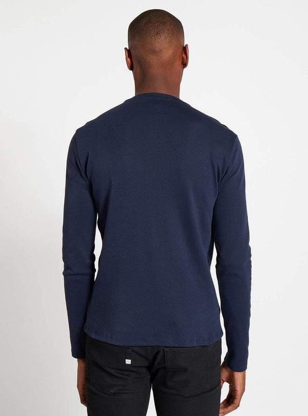 studio JUX t-shirt Cotton jersey henley t-shirt - dark blue