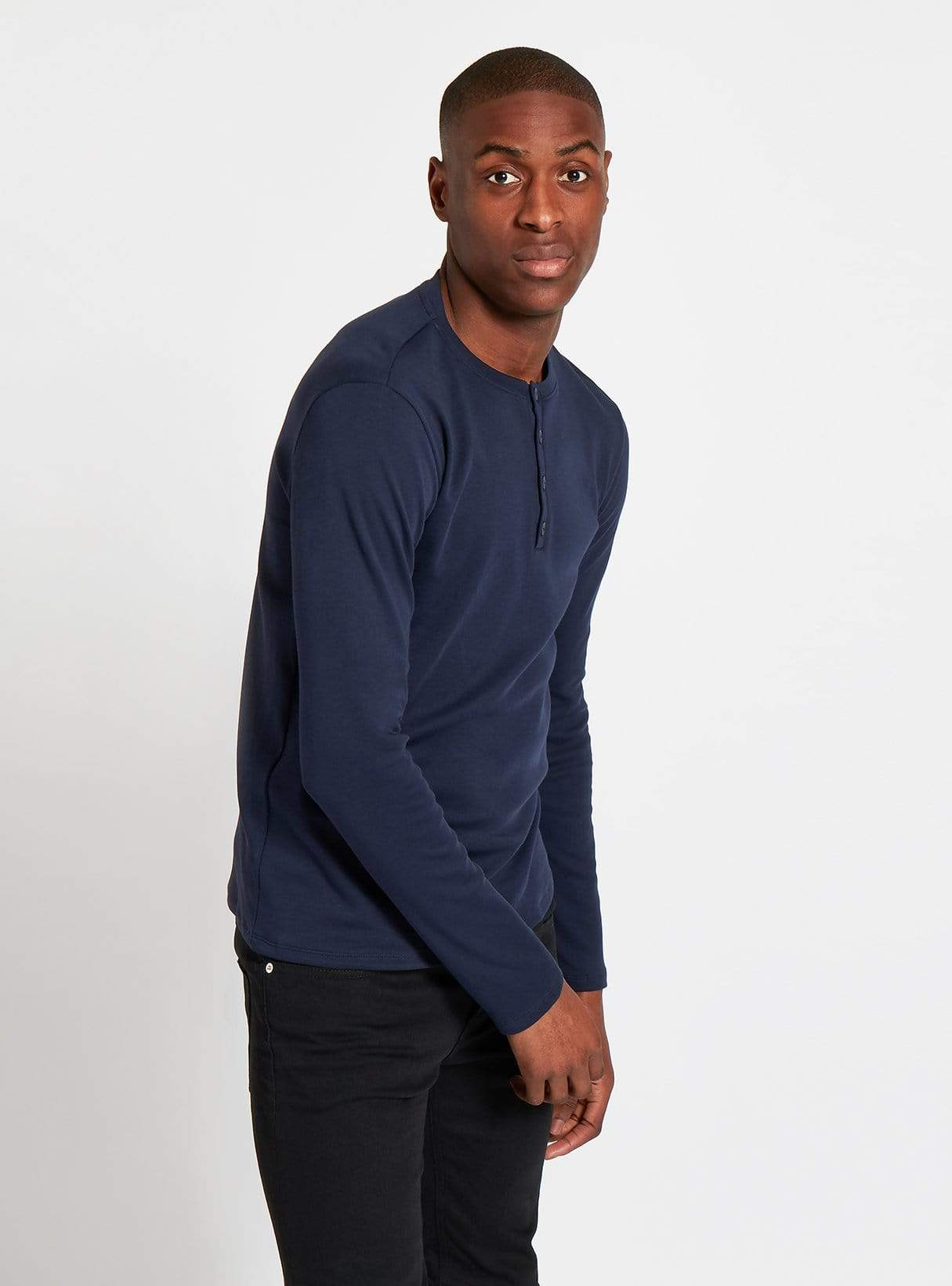 Cotton jersey henley t-shirt - dark blue