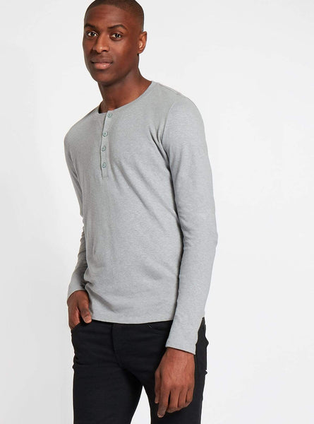 Hemp jersey henley t-shirt - grey