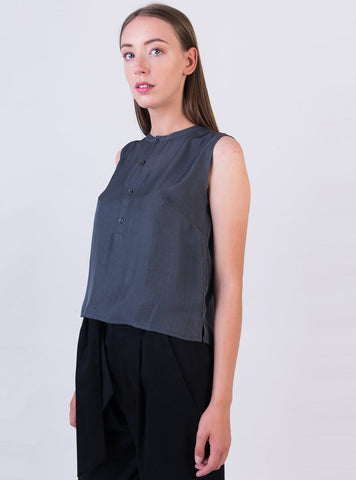 Cropped half placket top - grey