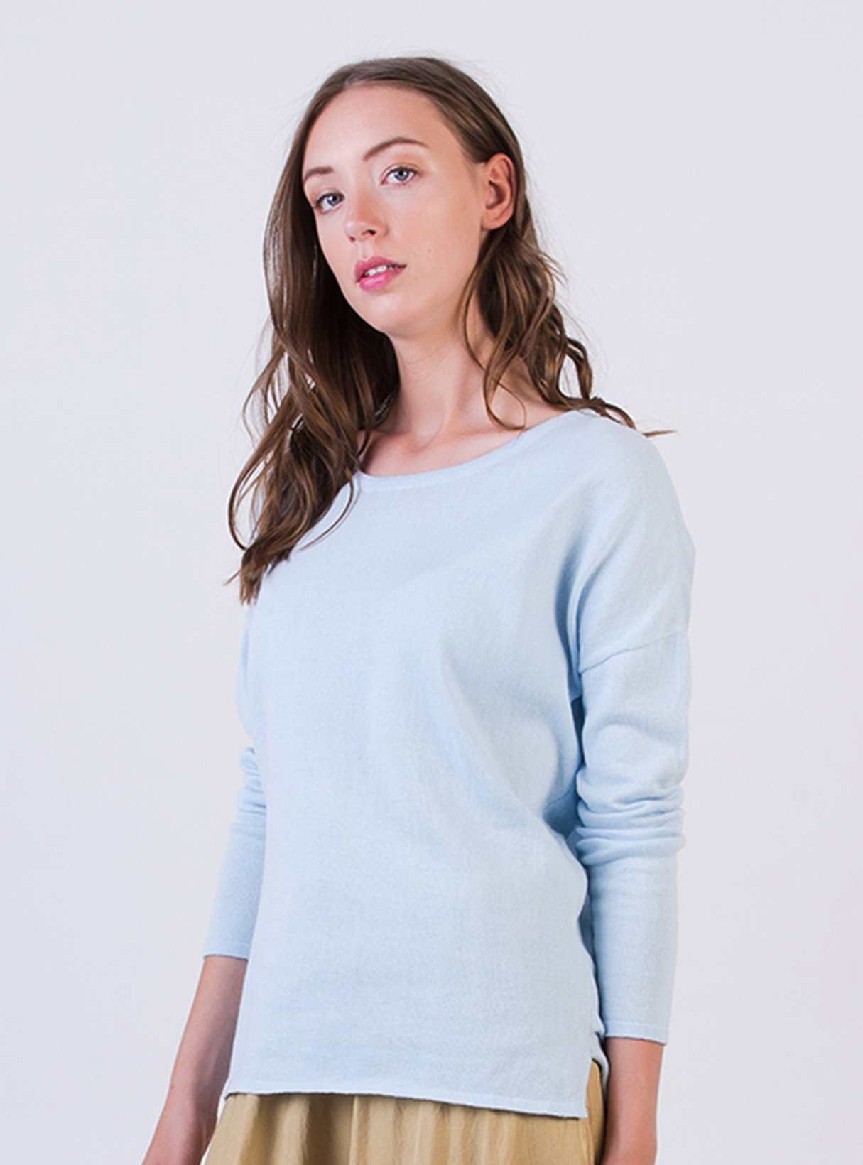 Drop shoulder top - sky blue