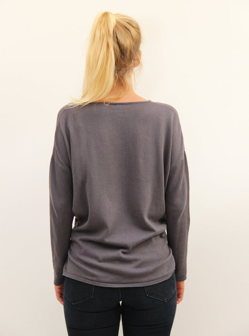 studio JUX top 34 Fine knit drop shoulder top - dark grey melange
