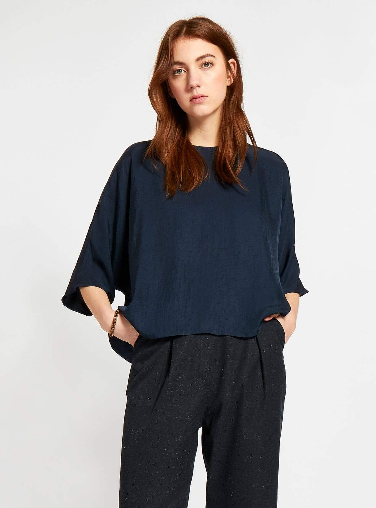 Batwing-sleeved vegan silk blouse - dark blue
