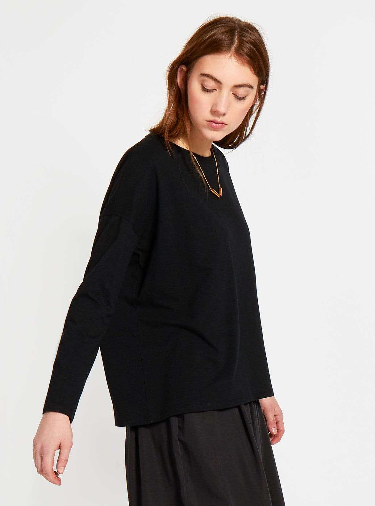 Boxy long-sleeved jersey top - black
