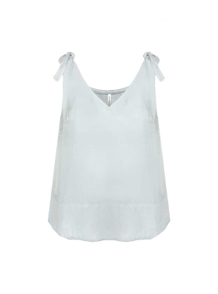 Top with knotted shoulder - ice blue