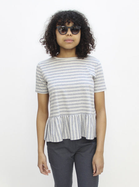 Organic cotton jersey frilled hem top - grey melange stripe